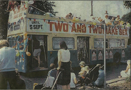 Southend Carnival 1981: A typically saucy title is advertised on the theatre's float! (Scan from newspaper)