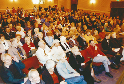 The packed audience included entertainer Roy Hudd