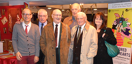 Honoured guests at the launch of 'Tales from the Palace Theatre'. Left to right: Charles Sharman-Cox (co-author), Chas Mumford (Head of Programming for Southend Theatres, including the Palace from 2003-2005), Chris Dunham (artistic director, 1975-1999), Roy Marsden (artistic director, 1999-2002), Albert Reddihough (Chairman of the Board of the Palace Theatre Trust, 1980-1992) and Ellen McPhillips (Theatre Director, Southend Theatres, 2007 to date)