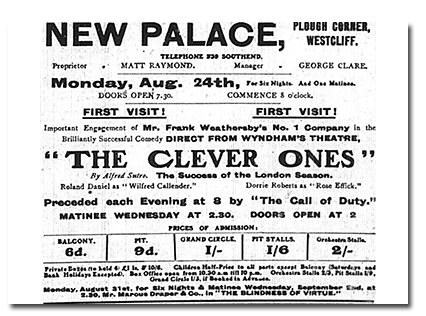 "Note ""The Call of Duty"", which preceded the show, in this advert from August 1914"