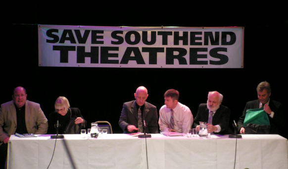 February 2005: Sebastian Abineri (actor), Florrie Holland (Chair; Southend Arts Council), Michael Heath (actor), Andrew Lewis, Tony North and John Dalloway (Southend Council)