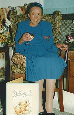 Stella Saunders celebrating her 100th birthday