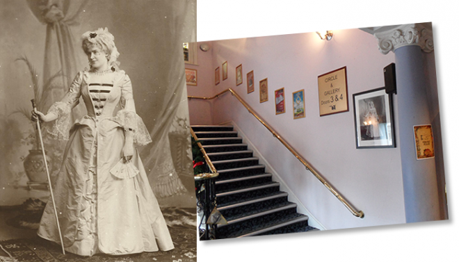 Gertrude's second cousins Anthony and Frances Edwards kindly donated to the Club a framed copy of this lovely portrait photograph. The theatre management have kindly allowed it to be put on display, at the foot of the Grand Staircase. This is a wonderful memento of a remarkable lady.
