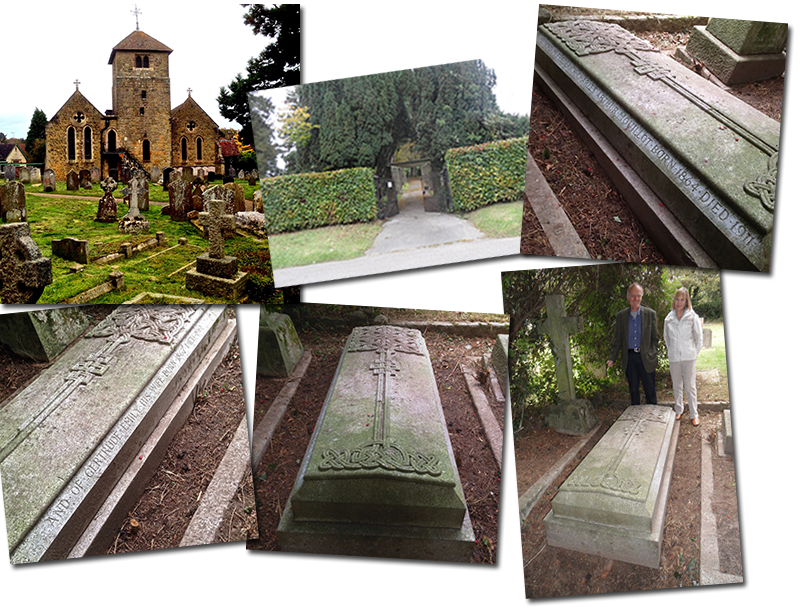 Together again at last: St. Bartholomew's Church, Haslemere; the entrance (directly across the road) to Derby Road Churchyard; Frederick and Gertrude's grave; brother and sister Anthony and Frances Edwards, second cousins to Gertrude