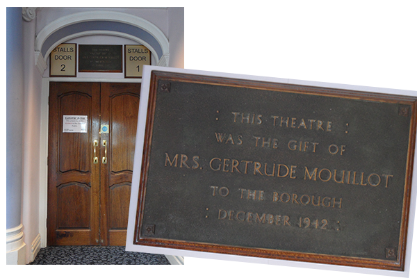 This plaque, proudly displayed above the entrance to the stalls, commemorates Gertrude Mouillot's remarkable generosity