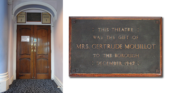 A plaque above the entrance to the stalls commemorates her gift.