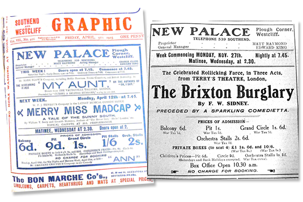 Newspaper adverts:  Left: April 1915 / Right: November 1916 (Note the reference to War Tax)