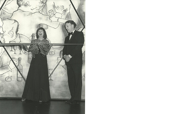 Westcliff-born actress Ann Stallybrass, a regular performer and member of the theatre appeal committee, cuts the tape to open the Palace Theatre Centre