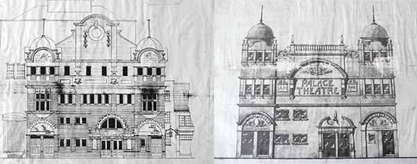Architects drawings for the Opera House (left), and for the Palace Theatre (right)