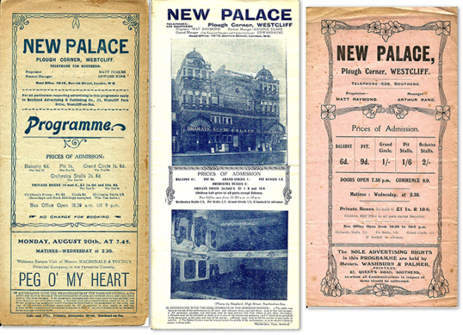 Some of our oldest programmes, from (right to left) December 1913, July 1914 and August 1917
