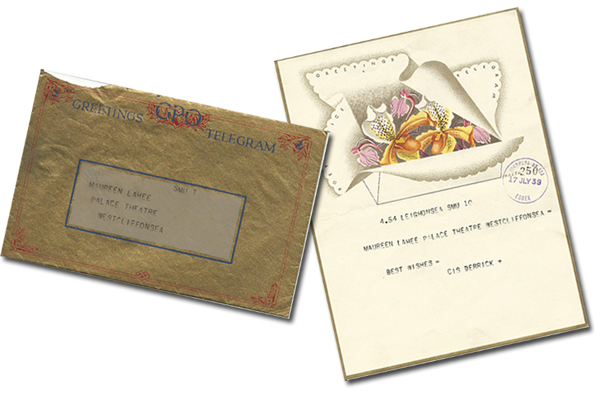 """July 1939: A splendidly illustrated """"Good Luck"""" telegram received by 15 year old Maureen Lahee when she appeared in The Breadwinner."""