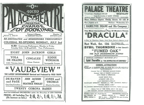 Vaudeview in July 1934 and Dracula in October 1936
