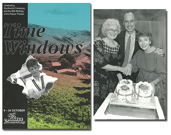 Long-serving Club member (later Secretary) Margaret Price-Stephens, Michael Wilcox, author of Time Windows, and lead actress Eve Pearce, cut the 80th birthday cake