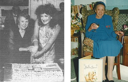 Stella Saunders and actress Geraldine Wright cut the cake to celebrate the Palace's 70th birthday after a gala performance of Spider's Web (left). Stella celebrates her 100th birthday (right)