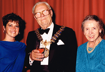 Celebrating 75 Years of the Palace Theatre: Gemma with mayor Ken Cater and Stella Saunders, then President of the Palace Theatre Club