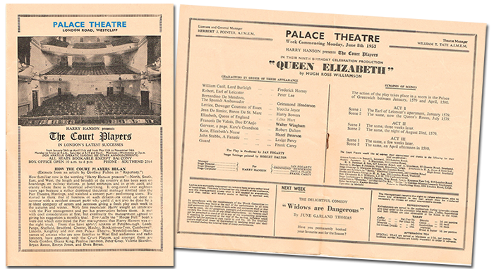 June 1953: A typical offering by the Court Players. Alongside Yootha Joyce in the cast are husband and wife Peter Lee and Hazel Peterson. Their story, told by daughter Mandy Carr, is available for you to read in previous contributions.