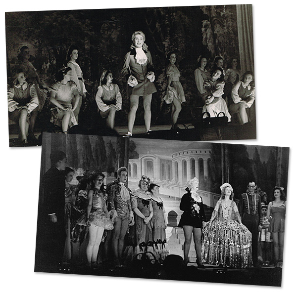 Here are two photographs from Cinderella. In the first, I'm kneeling to the left of the actress in the centre while, in the second, I'm second left.