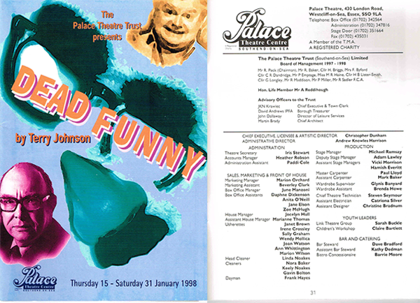 The programme for Dead Funny (January 1998), with my credit as Deputy Stage Manager